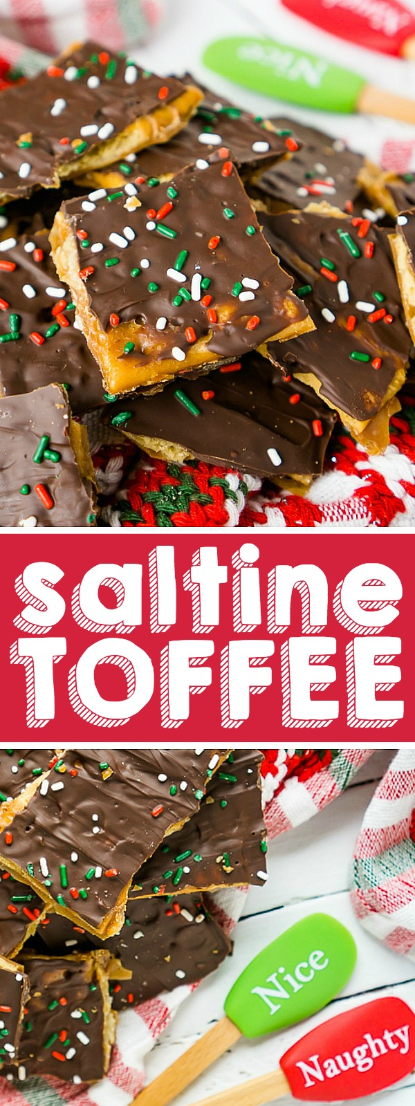 Saltine Toffee is a quick and easy Christmas Candy that is an addicting sweet and salty holiday treat! Known by many as Christmas Crack, this is a candy recipe you will definitely want to add to your holiday menu!| THE LOVE NERDS #christmascandy #christmasdessert #candyrecipe #holidayrecipe