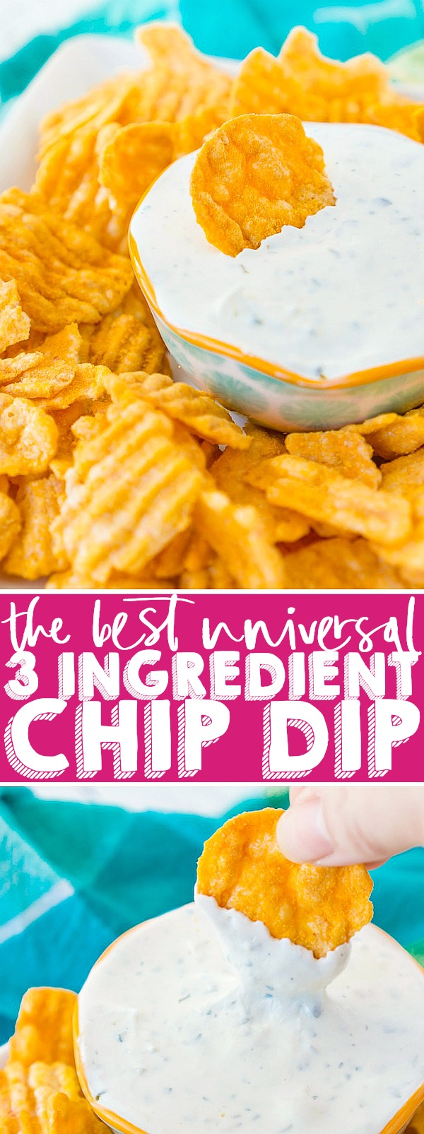 This is the Best Chip Dip Recipe for the big Game Day because it's so versatile! Only 3 ingredients and you have a light, herbed chip dip that pairs well with every chip. | THE LOVE NERDS #chipdip #appetizer #gamedayfood