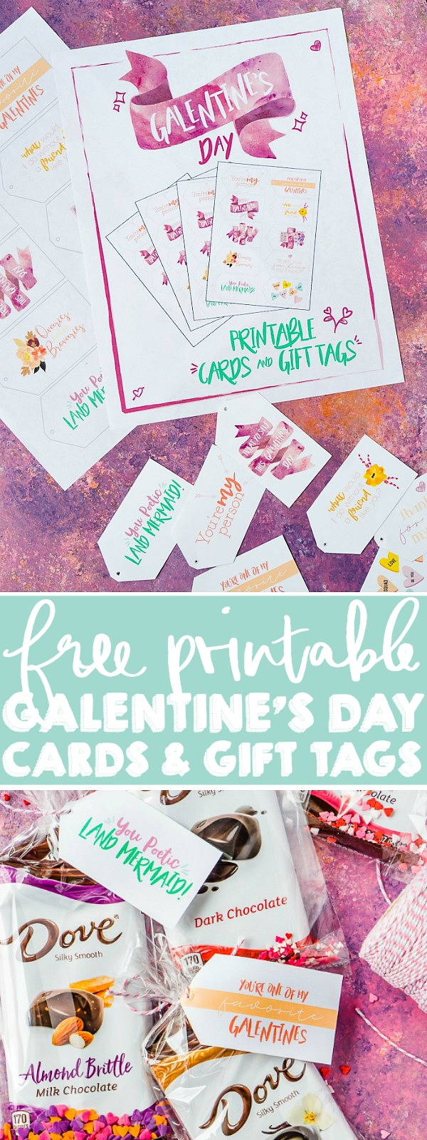 Make easy but delicious Galentine's Day Gift Bags to thank the amazing friends in your friend with some help from DOVE® Chocolate Bars and FREE printable gift tags and cards! It's a quick DIY treat bag your friends will remember!| THE LOVE NERDS #friendgifts #diygiftbags #galentinesday