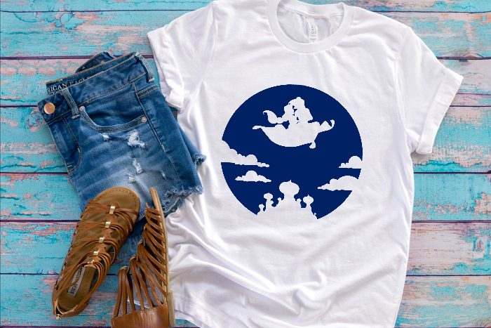 Who else loved Aladdin as a kid?! I'm excited for the new Disney live action Aladdin, so I made a new cut file bundle. Come check out our Aladdin SVG Bundle - perfect for making diy shirts for the movie theatre or Disney World as well as travel mugs, computer stickers and more!| THE LOVE NERDS #disneyshirt #disneyside #aladdinproject
