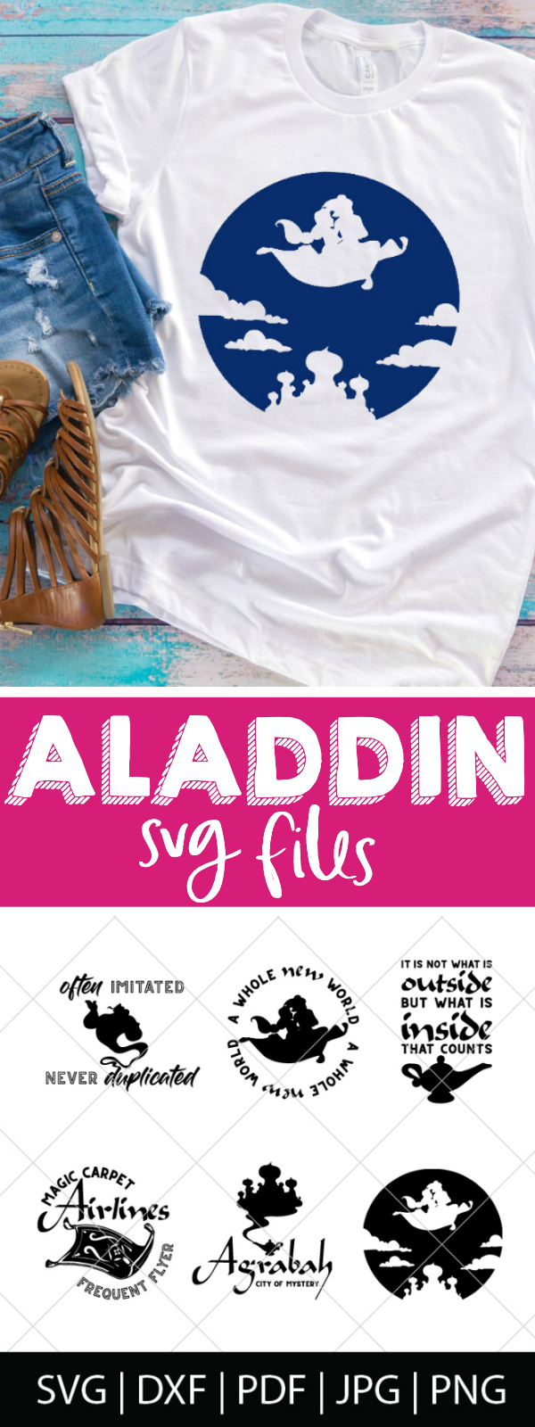 Who else loved Aladdin as a kid?! I'm excited for the new Disney live action Aladdin, so I made a new cut file bundle. Come check out our Aladdin SVG Bundle - perfect for making diy shirts for the movie theatre or Disney World as well as travel mugs, computer stickers and more! | THE LOVE NERDS #disneyshirt #disneyside #aladdinproject