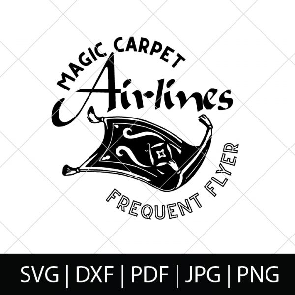 Magic Carpet Airlines - Aladdin SVG Files - Who else loved Aladdin as a kid?! I'm excited for the new Disney live action Aladdin, so I made a new cut file bundle. Come check out our Aladdin SVG Bundle - perfect for making diy shirts for the movie theatre or Disney World as well as travel mugs, computer stickers and more! | THE LOVE NERDS #disneyshirt #disneyside #aladdinproject