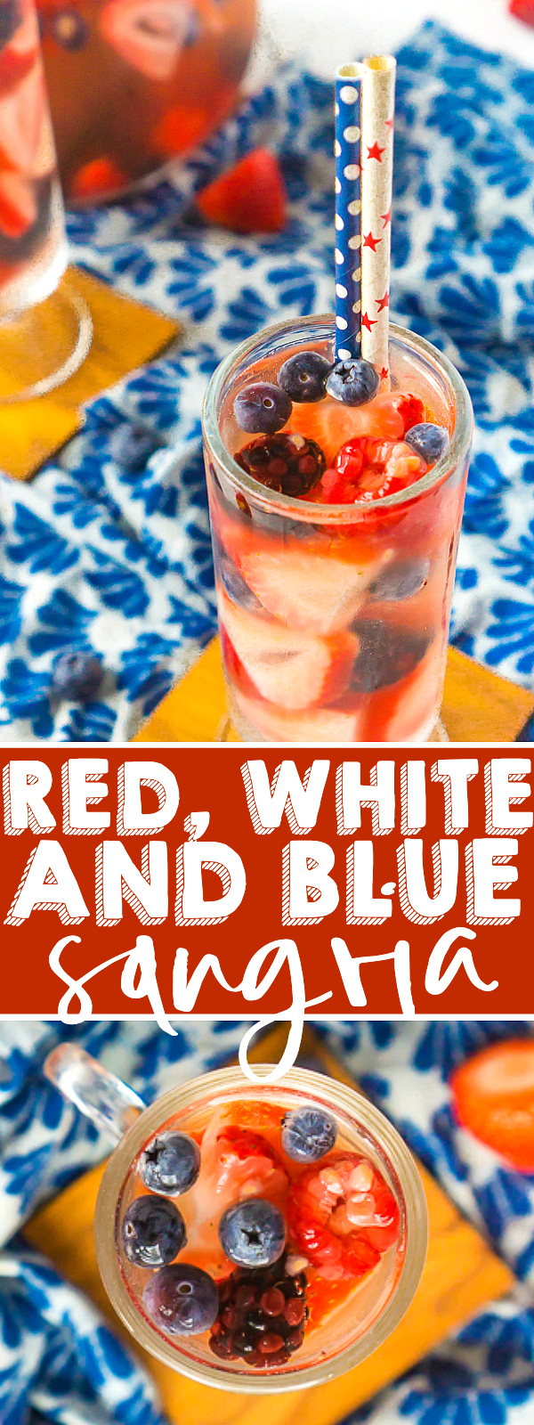 A Red White and Blue Sangria - Filled with delicious summer berries, this is the BEST Summer Sangria Recipe and the easiest 4th of July cocktail! It's light, refreshing and so easy to make and customize all summer long. Plus, it doesn't need to sit over night making it great for summer parties!  | THE LOVE NERDS #SANGRIARECIPE #SUMMERCOCKTAIL #WINECOCKTAIL
