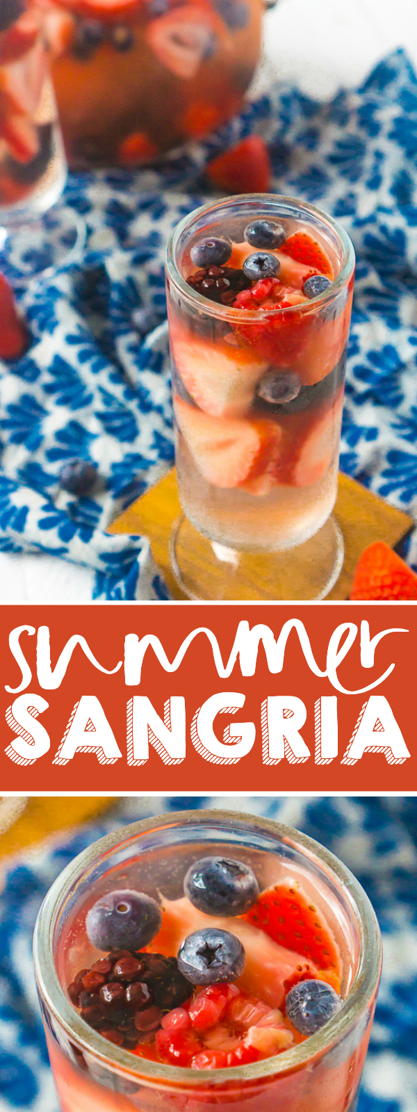 Filled with delicious summer berries, this is the BEST Summer Sangria Recipe! It's light, refreshing and so easy to make and customize all summer long. Plus, it doesn't need to sit over night making it great for summer parties!| THE LOVE NERDS #SANGRIARECIPE #SUMMERCOCKTAIL #WINECOCKTAIL