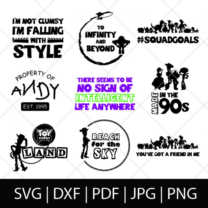 9 Toy Story designs including Buzz, Woody, Bo Peep and Jessie all appear on a sales image with the listing of file types, including svg, jpeg, png and pdf