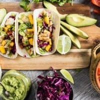 Grilled Fish Tacos with Mango Salsa & Avocado Lime Sauce