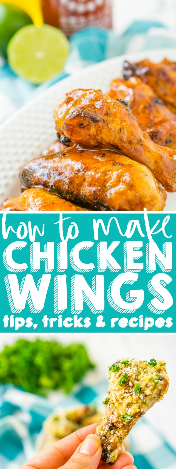 HOW TO COOK CHICKEN WINGS - Chicken wings is a meal time and game day favorite for us, especially with so many amazing chicken wing sauces recipes to try! I'm sharing tons of tips, tricks and instructions on how to cook chicken wings, including on the grill, in the oven, in the slow cooker and in the air fryer. | THE LOVE NERDS #chickenwingsaucerecipe #chickenwings #grilledchickenwings #bakedchickenwings