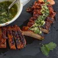Grilled Sweet Chipotle Pork Tenderloin with Cilantro Lime Chimichurri