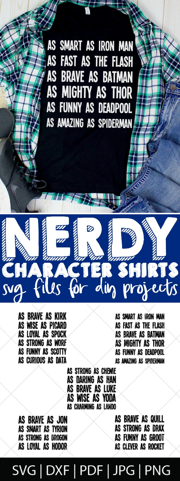 New Nerdy Character Shirts SVG Bundle is full of fun character descriptions celebrating Star Wars, Superheroes, Guardians of the Galaxy, Game of Thrones, and Star Trek!! This Nerdy SVG Bundle is perfect for diy shirts, mugs, glassware, and, especially, for DIY Father's Day Gifts! | THE LOVE NERDS #diyfathersdaygift #nerddad