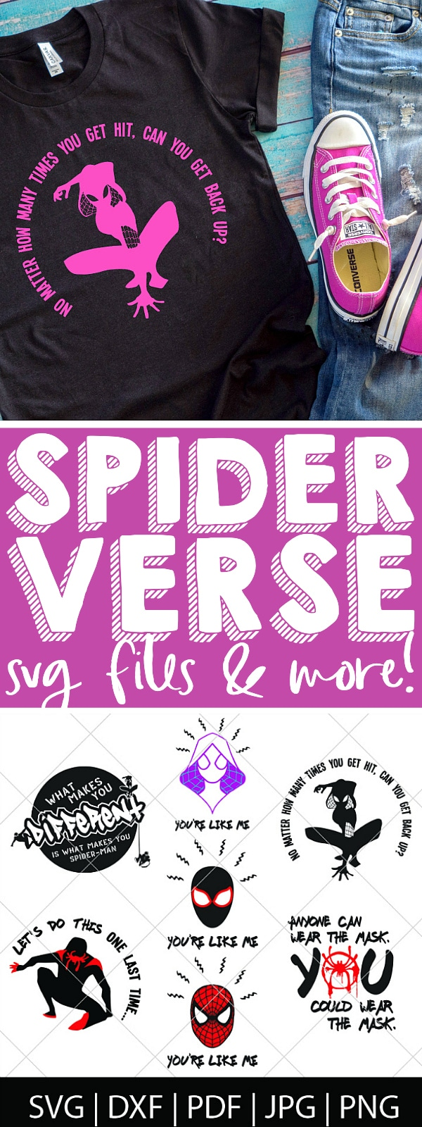 Make your own Spider-Gwen shirts or gifts with this Spider-Man: Into the Spider-verse SVG Bundle - We love our friendly neighborhood Spider-Man but we really love our Spider-Gwen, so we're celebrating Into the Spider-Verse with new cut files! Perfect for making Spider-Man shirts, mugs, gifts and more! | THE LOVE NERDS #spiderverse #spiderman #avengerssvg #marvelsvg