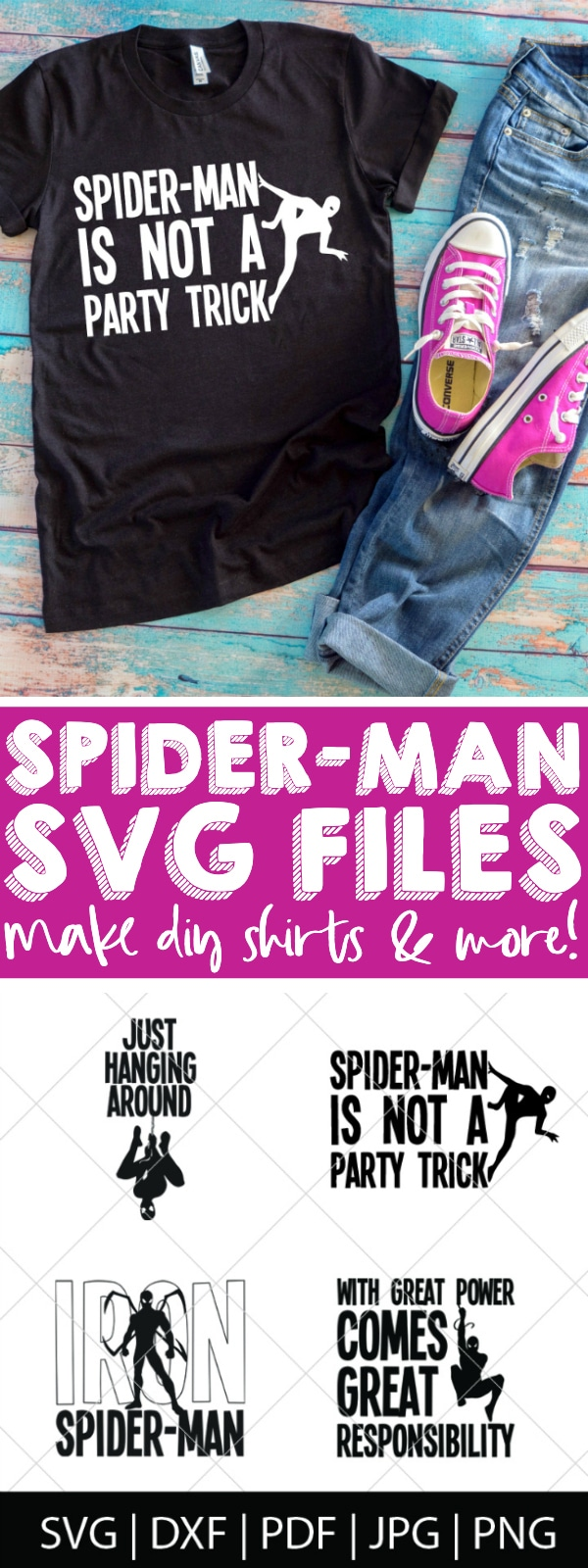 Make your own Spider-Man shirts or gifts with this Spider-Man SVG Bundle - We love our friendly neighborhood Spider-Man, so we're celebrating the newest movie with these superhero cut files! Perfect for making Spider-Man shirts, mugs, gifts and more! | THE LOVE NERDS #spiderman #avengerssvg #marvelsvg