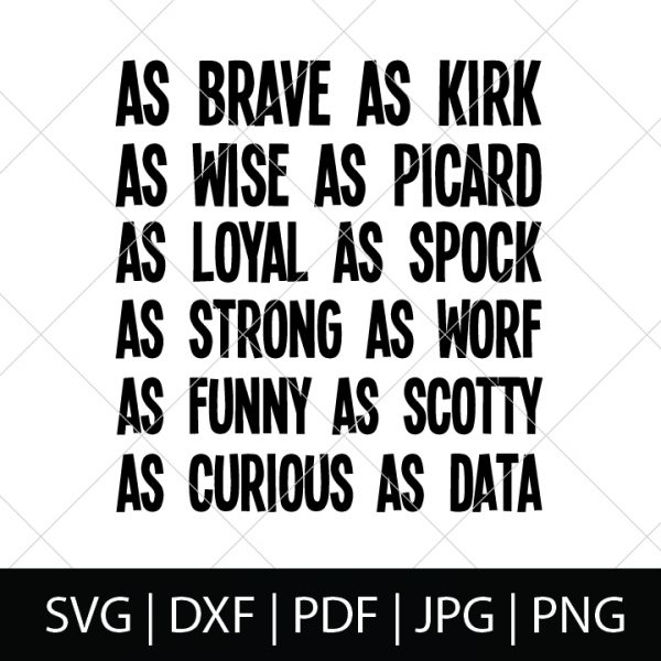 Nerdy Father's Day SVG Files - Star Trek Character Description Shirt Design