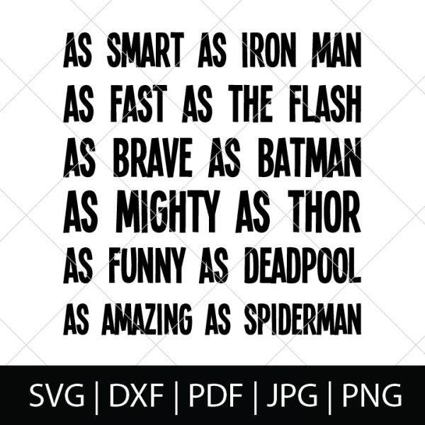 Nerdy Father's Day SVG Files - Superheroes Character Description Shirt Design