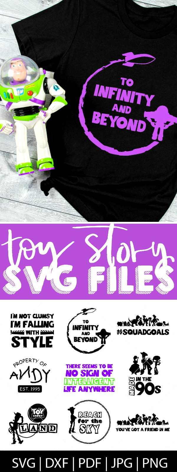 With the excitement of Toy Story Land and Toy Story 4, I thought it was time to make a Toy Story SVG Bundle! Come check out our Toy Story cut files for Cricut and Silhouette - perfect for making diy shirts for the movie theatre or Disney World as well as travel mugs, computer stickers and more! | THE LOVE NERDS #disneyshirt #disneyside #toystoryproject #disneygroupshirts