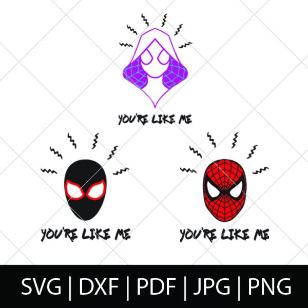You're Like Me! Spider-Man and Spider-Gwen. - Into the Spider-Verse SVG Bundle