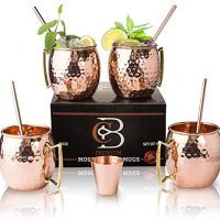Moscow Mule Mugs Gift Set for 4 with 4 Straws and 1 Shot Glass