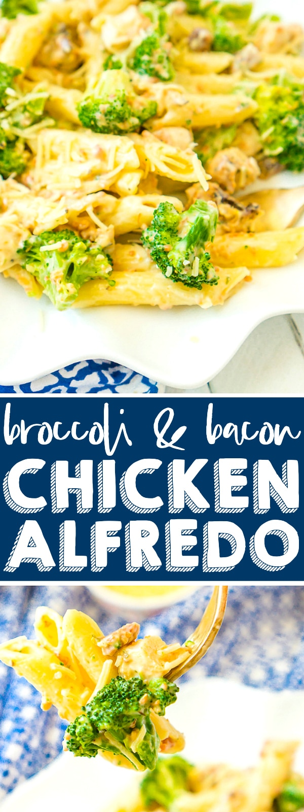 This creamy Bacon Broccoli Chicken Alfredo Pasta dinner is easily tossed together for a delicious pasta the whole family will love! Works well hot from the oven for Sunday night dinner or cold from the fridge as a pasta salad and lunch idea!