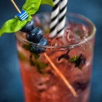 Blueberry basil Moscow Mule cocktail