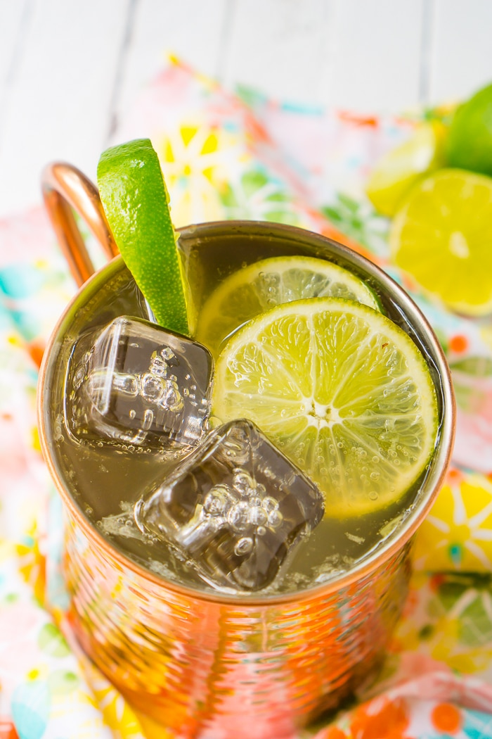 A classic Moscow mule recipe with ginger beer, fresh lime juice, vodka and lots of ice! The mule is garnished with lime slices on top.