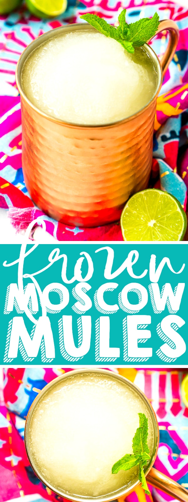 Frozen Moscow Mule Slushies is a large batch cocktail recipe you will love for hot summer days! Three ingredients will help you make an amazing frozen cocktail that is both sweet and tangy! It's an easy crowd pleaser!  | THE LOVE NERDS #cocktailrecipe #summerdrinks #moscowmulerecipe #frozencocktail