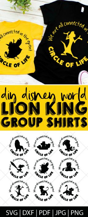 Make your own DIY Lion King shirts or gifts with this Lion King SVG Bundle - Simba, Nala, Timon and Pumba are a very big deal in our household! These files are perfect for making our Disney World shirts for our upcoming trip as well as birthday party invites and decor for a Lion King party! Make DIY shirts, mugs, gifts and more! | THE LOVE NERDS #disneycrafts  #diydisney #lionkingcricut