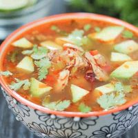 Chipotle Lime Soup with Shredded Chicken