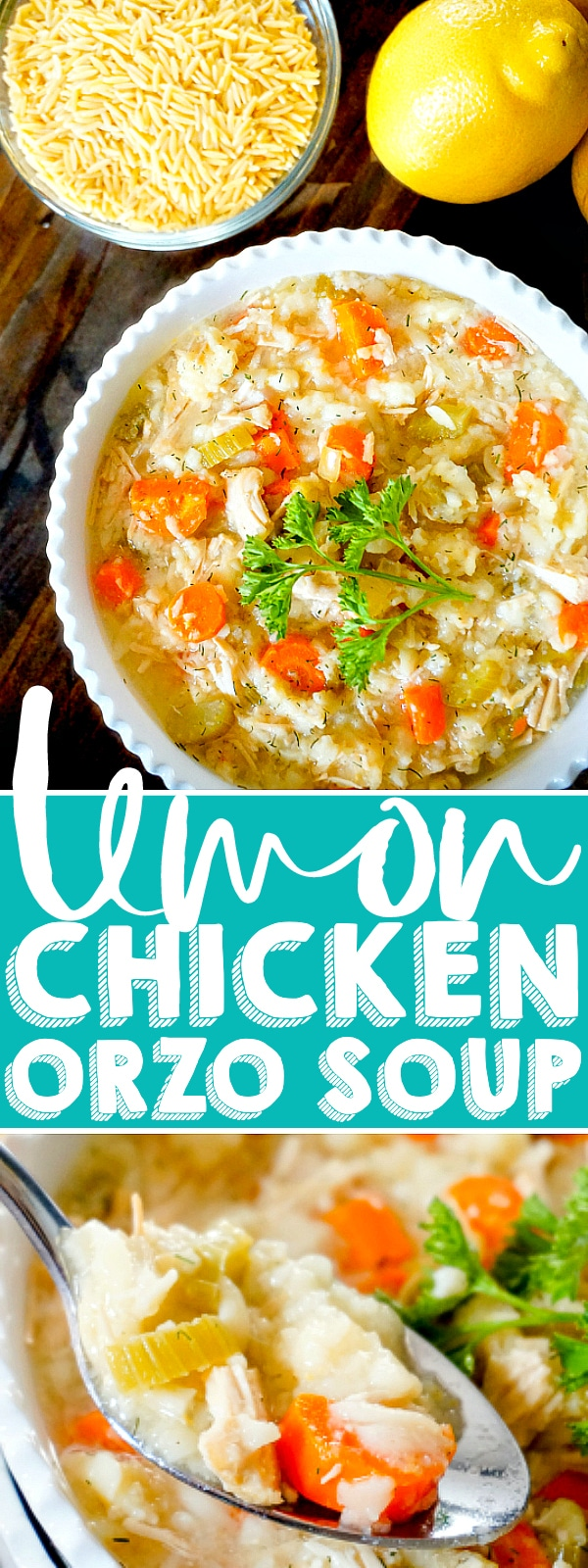 This light and refreshing slow cooker Lemon Chicken Orzo Soup recipe is a copycat Panera soup recipe that is delicious all year long and serves as a great substitute to your traditional chicken noodle soup!   THE LOVE NERDS #slowcookersoup #lemonchickenrecipe #souprecipe