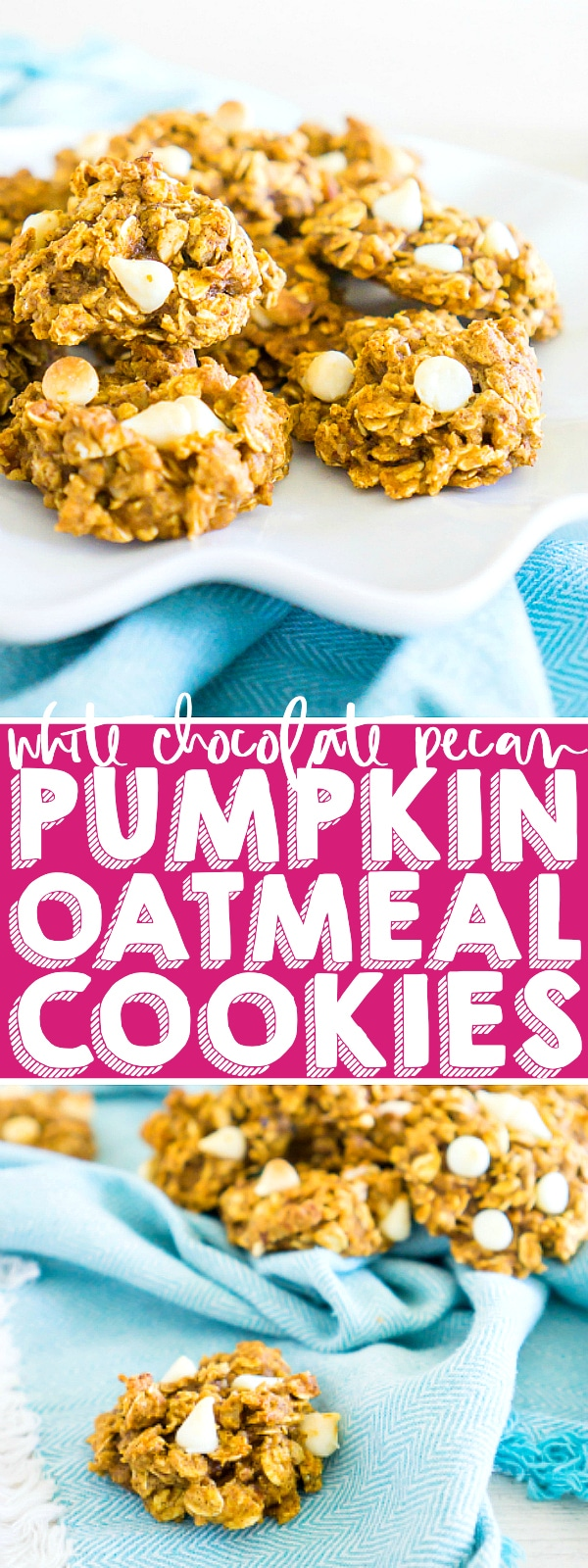 Combine the perfect fall flavors of pumpkin, oatmeal, nutmeg, and cinnamon into delicious White Chocolate Chip Pumpkin Oatmeal Cookies that are so addicting you will want them with your coffee in the morning! These Pumpkin Oatmeal Cookies will be one of your new fall cookie favorites! | The Love Nerds #pumpkincookies #thanksgivingdessert #cookierecipe