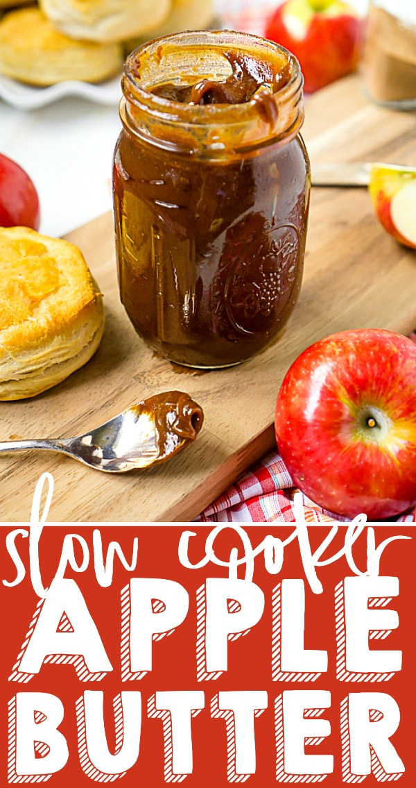 Homemade Recipe for Apple Butter in Slow Cooker - Flavorful, spice, and incredibly rich! Inspired by the Cracker Barrel Apple Butter Recipe, this slow cooker apple butter recipe is easy to toss together and easily the best apple butter you've ever tasted! | The Love Nerds #applerecipe #slowcookerapplebutter #crockpotapplebutter
