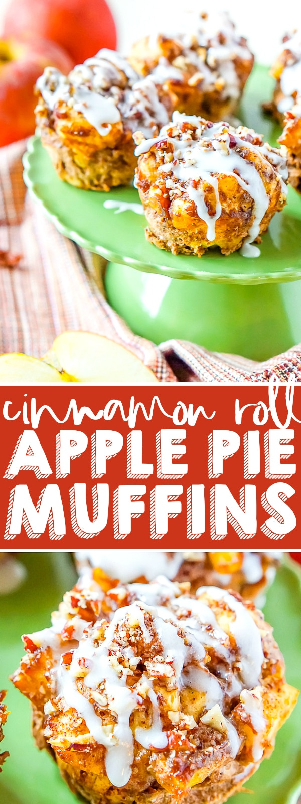 Apple Pie Cinnamon Roll Muffins - A classic breakfast sweet is combined with a holiday dessert favorite to make the perfect holiday muffin! An easy and delicious show stopper for your holiday menus! | The Love Nerds #christmasbreakfast #thanksgivingbrunch #holidaymuffins
