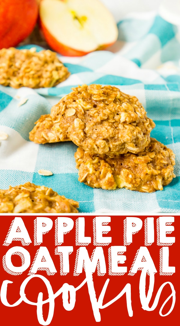 Soft, Chewy Apple Pie Oatmeal Cookies - Delicious fall oatmeal cookie recipe filled with chunks of real apple and a healthier spin on oatmeal cookies with less butter and no oil! Big flavor with bold fall spices that you find in a warm apple pie! | THE LOVE NERDS #applecookie #fallcookie #thanksgivingdessert #applerecipe