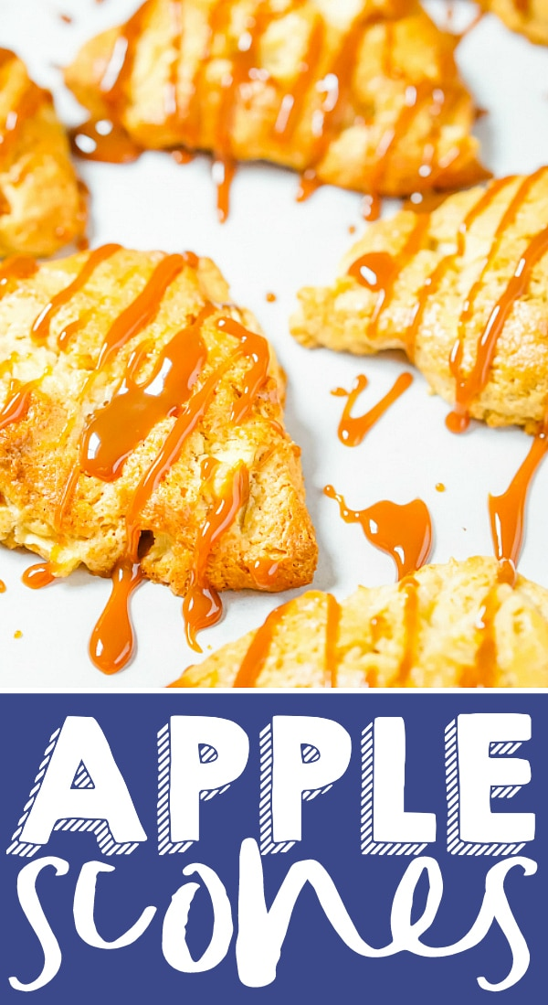 Caramel Apple Scones - Start your fall mornings and holidays off with a delicious caramel apple scone filled with fresh apple bites! A perfect Thanksgiving breakfast or Christmas breakfast! | THE LOVE NERDS #applerecipe #sconerecipe #holidaybreakfast #thanksgivingrecipe
