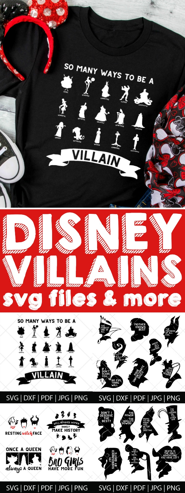 So many ways to be a Disney Villain SVG Files! Tons of new Halloween SVG files have been added to the shop celebrating our favorite bad guys, including the Evil Queen, Maleficent, Ursula, Cruella de Vil, Jafar, Captain Hook, Gaston and more! These digital files are perfect for DIY Halloween shirts, decor, party invites and more! | THE LOVE NERDS #DisneyCricut #DIYHalloween #HalloweenCricut