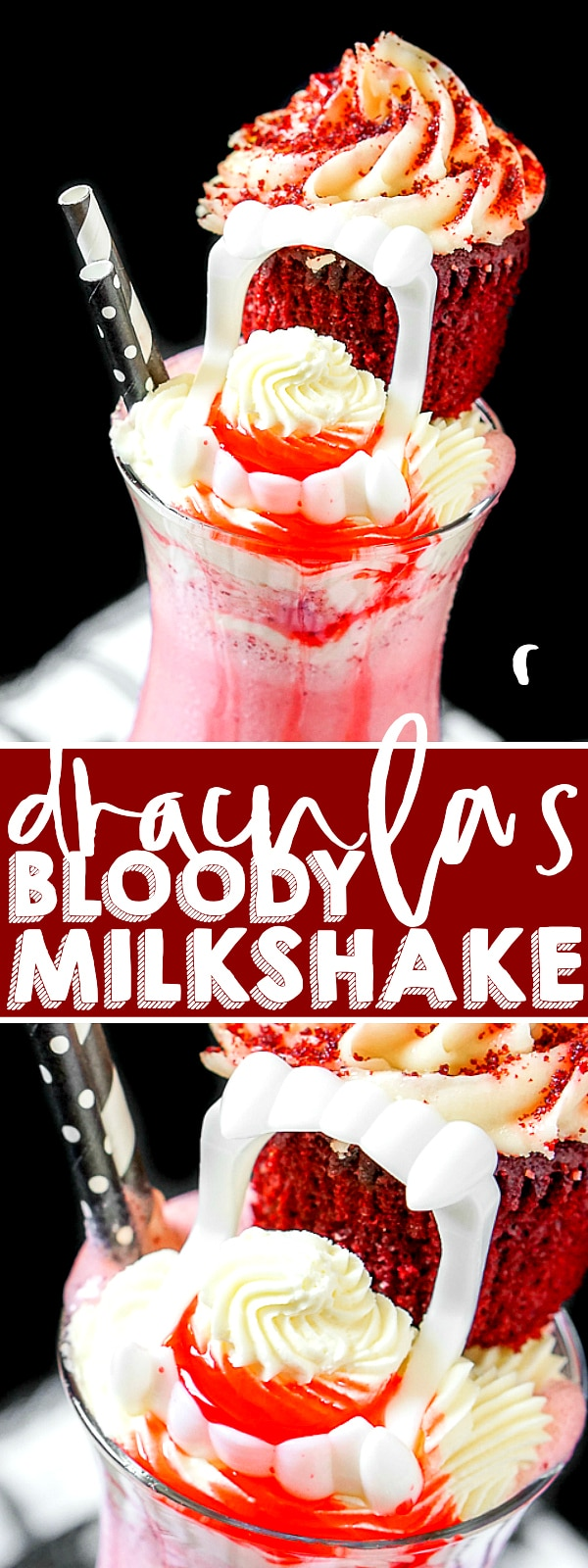 Dracula's Bloody Red Velvet Milkshake recipe is an easy cold treat full of big flavor with a spooky Halloween dessert touch with vampire teeth! | THE LOVE NERDS #milkshakerecipe #redvelvetrecipe #halloweendessert