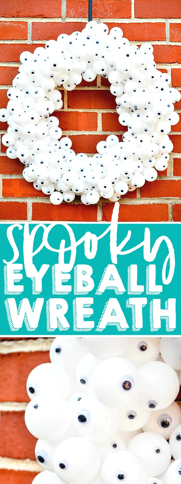 Create a fun and spooky Eyeball Wreath for your DIY Halloween decor! Made with inexpensive products and a lot of hot glue, it's an easy Halloween Wreath your trick or treaters will love! | The Love Nerds #HALLOWEENDECOR #HALLOWEENCRAFT #WREATHIDEA