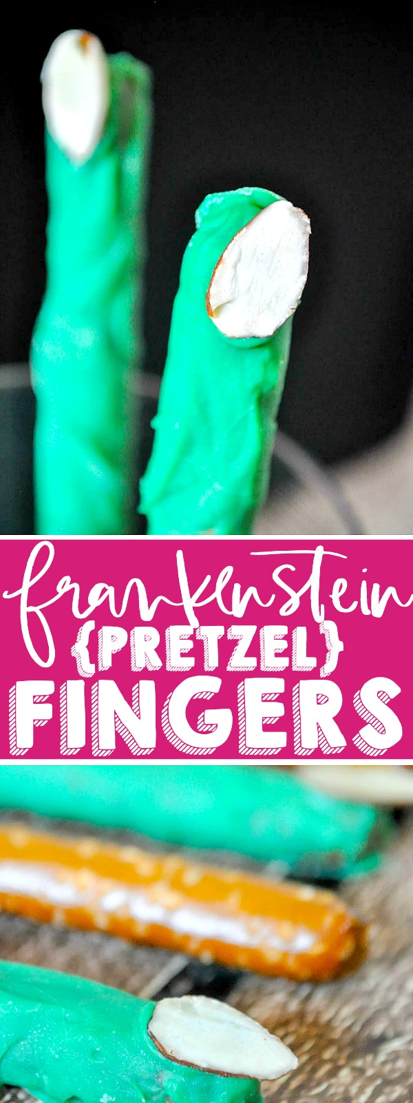 Make spooky Pretzel Frankenstein Fingers for an easy Halloween Treat that needs only 3 ingredients! Plus, it's a super kid friendly recipe for them to help making this fun Halloween dessert. | The Love Nerds #halloweendessert #chocolatepretzels #monsterrecipe