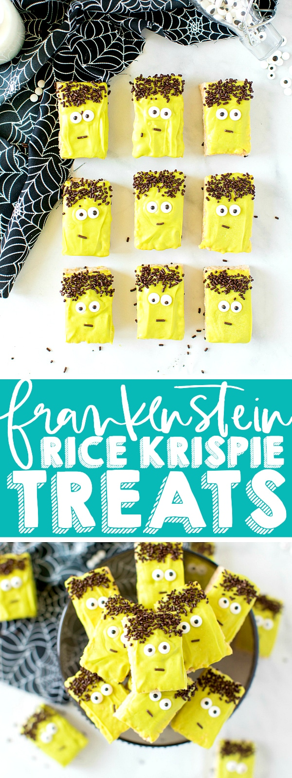Adorable Frankenstein Rice Krispie Treats that everyone will love at your Halloween party! A fun Halloween treat that's easy to make, even for tiny helpers! Can use homemade rice krispie treats or store bought for even faster prep! | The Love Nerds #halloweendessert