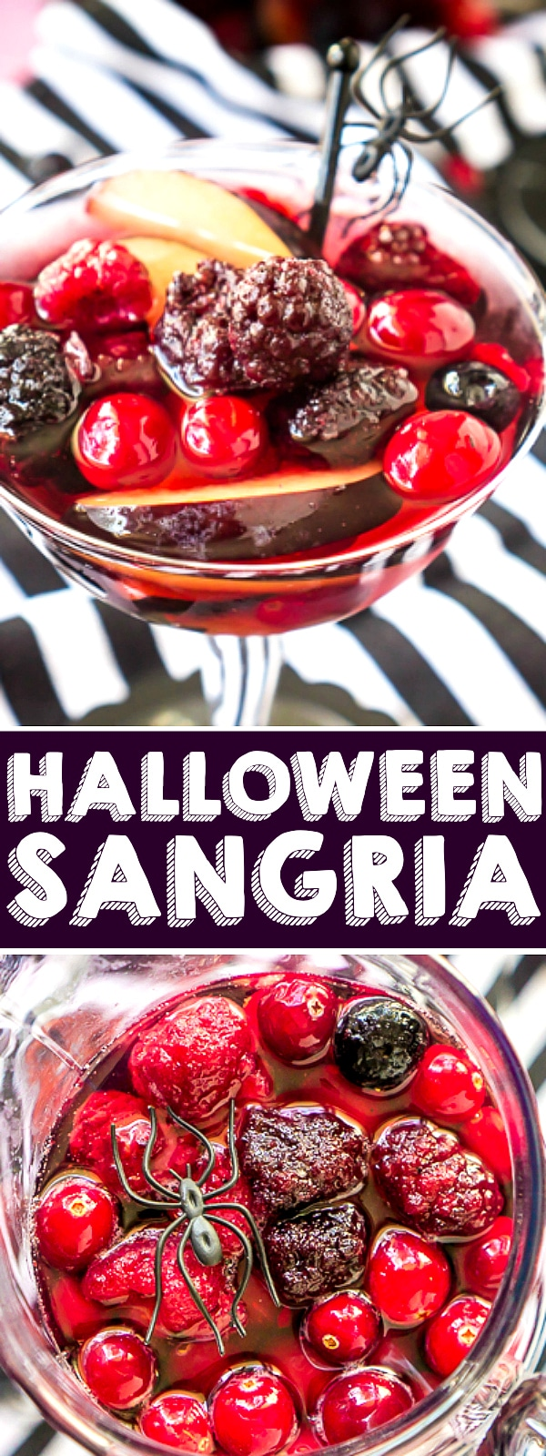 HALLOWEEN SANGRIA - A blackberry and cranberry sangria with shades of purple, pink and red that makes a stunning Halloween punch! Garnish glasses with spiders to give your guests a trick with a spooky Halloween cocktail surprise!  | The Love Nerds #halloweendrinkrecipe #halloweencocktail #cranberrysangria