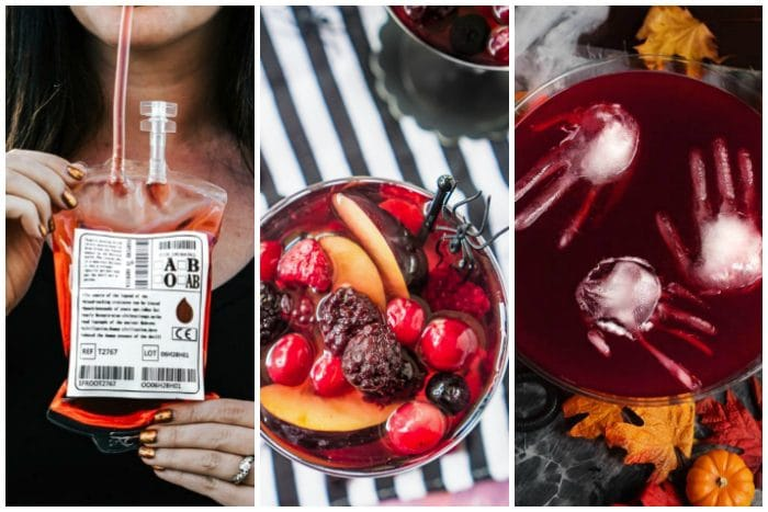 3 pictures side by side of a red cocktail in a blood bag, a red sangria with berries and topped with a plastic spider and a red punch bowl with floating hand shaped ice cubes