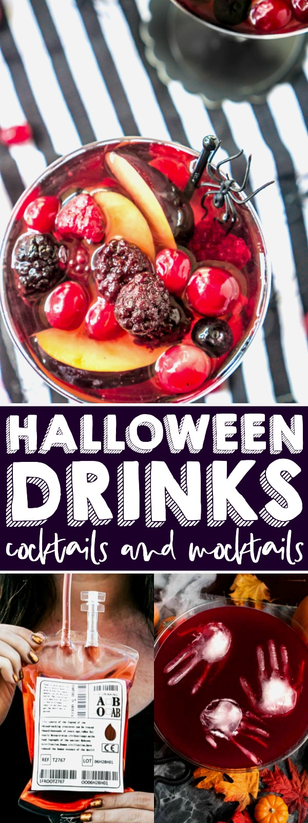 The Ultimate List of SPOOKTACULAR Halloween Drinks for the whole family! Whether you are planning a Halloween celebration for just your family or a big Halloween party, we have you covered with spooky Halloween cocktails for the adult guests and fun, colorful Halloween mocktails for the kids and non-drinkers! | The Love Nerds #halloweendrink #halloweencocktail #halloweenpunch