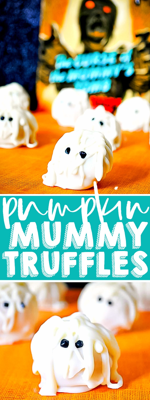 Need an adorable Halloween treat? Goosebumps Curse of the Mummy Truffles are perfect! A cute mummy outside with a tasty vanilla coating and a delicious spiced pumpkin truffle on the inside! | The Love Nerds #halloweendessert #pumpkinrecipe #trufflerecipe