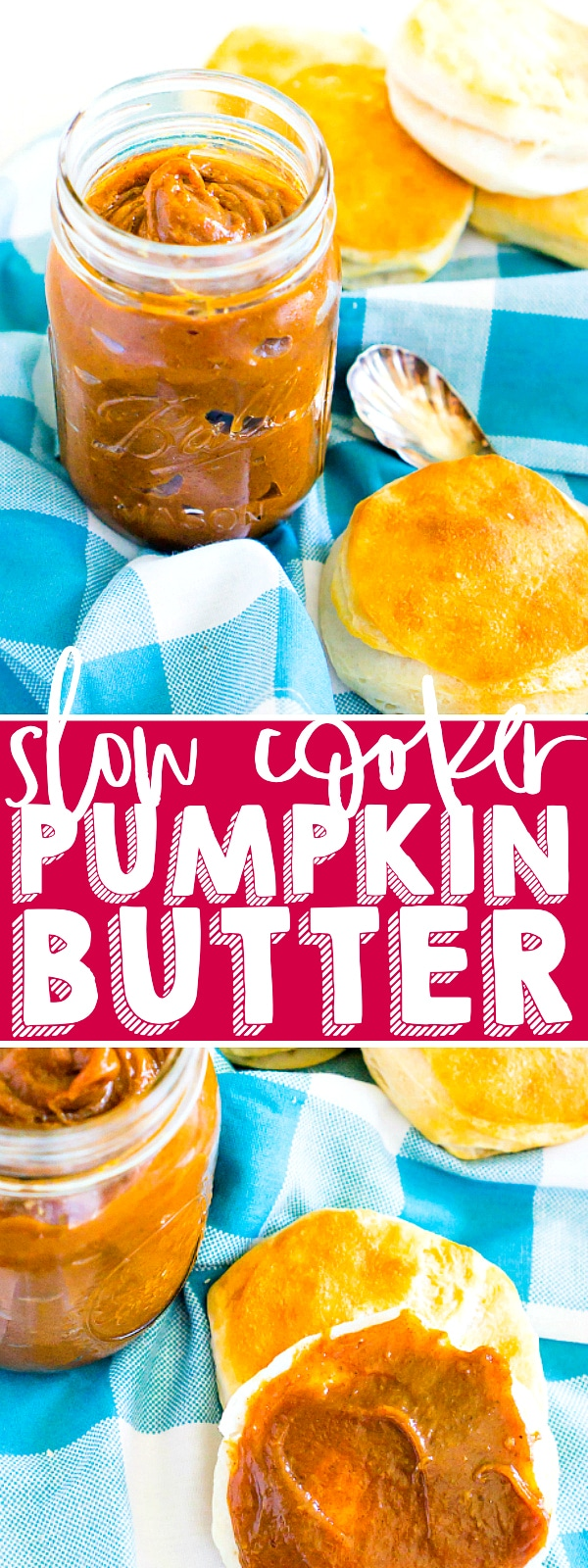 5 ingredient Slow Cooker Pumpkin Butter is absolutely addicting and a fall pumpkin recipe staple for us because it makes the perfect ingredient for fall baked goods, main dish recipes and even morning toast! | THE LOVE NERDS #pumpkinrecipe #thanksgivingrecipe #fallbaking