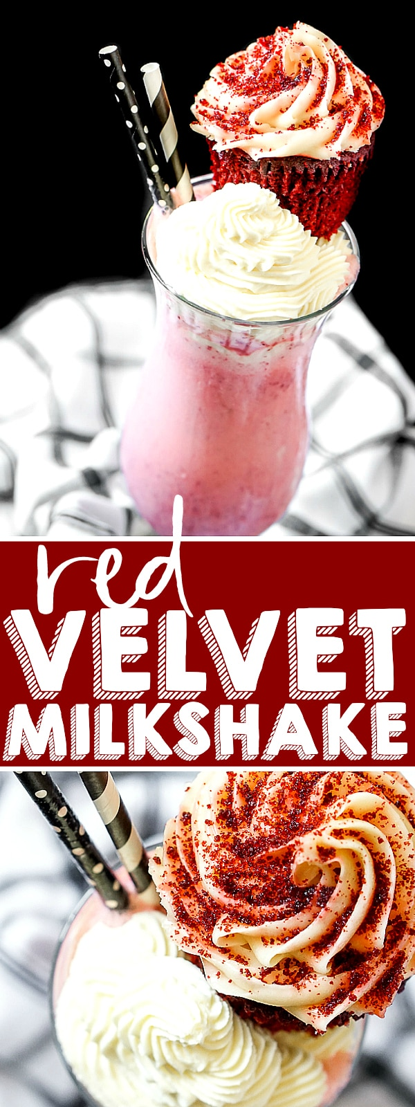 Creamy Red Velvet Milkshake recipe is an easy cold treat full of big flavor for all red velvet lovers! | THE LOVE NERDS #milkshakerecipe #redvelvetrecipe