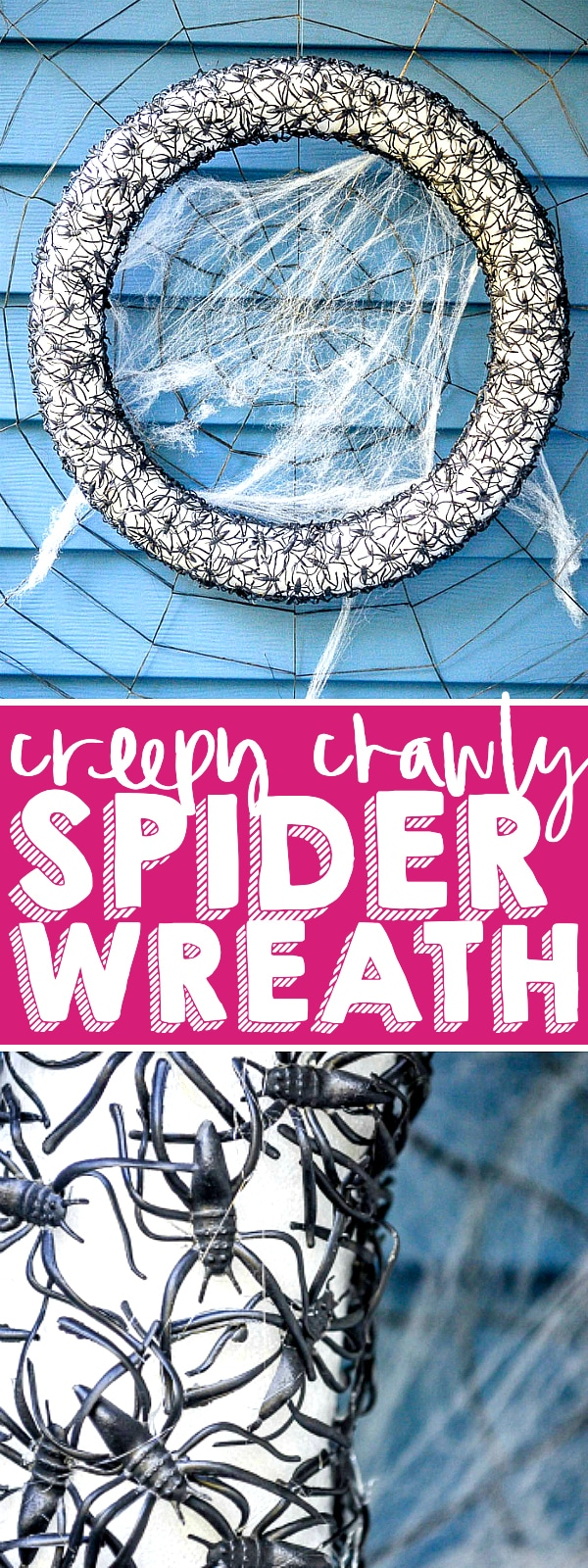 Create a creepy crawly Spider Wreath for your DIY Halloween decor! Made with a couple inexpensive products and a lot of hot glue, it's an easy Halloween Wreath your trick or treaters will love! | THE LOVE NERDS #HALLOWEENDECOR #DIYWREATH