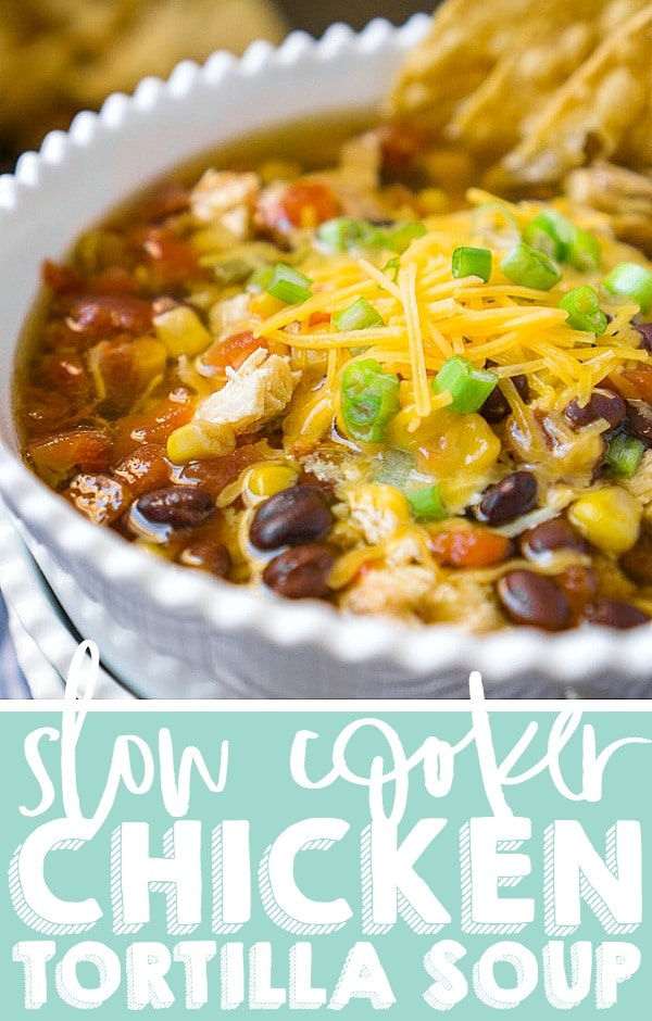 Here is the only chicken tortilla soup recipe you'll ever need! This super easy slow cooker chicken tortilla soup requires less than 10 minutes of prep work and makes meals for the week super easy with the ability to cook extra chicken with the soup for other meals during the week. Hearty, flavorful, and full of chicken, veggies and spices!   THE LOVE NERDS #slowcookersoup #crockpotsoup #easysouprecipes