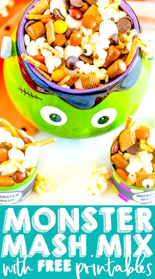 MONSTER MASH HALLOWEEN TRAIL MIX - An easy and adorable Halloween Trail Mix that makes the perfect addition to your Halloween treat table, one that allows your little monsters to pick and choose their favorite holiday snacks! Plus, this Halloween recipe comes with free printables for your Monster Mash Halloween Trail Mix display!!  | The Love Nerds #HALLOWEENDESSERT #HALLOWEENPARTY #PARTYMIX #FREEHALLOWEENPRINTABLE