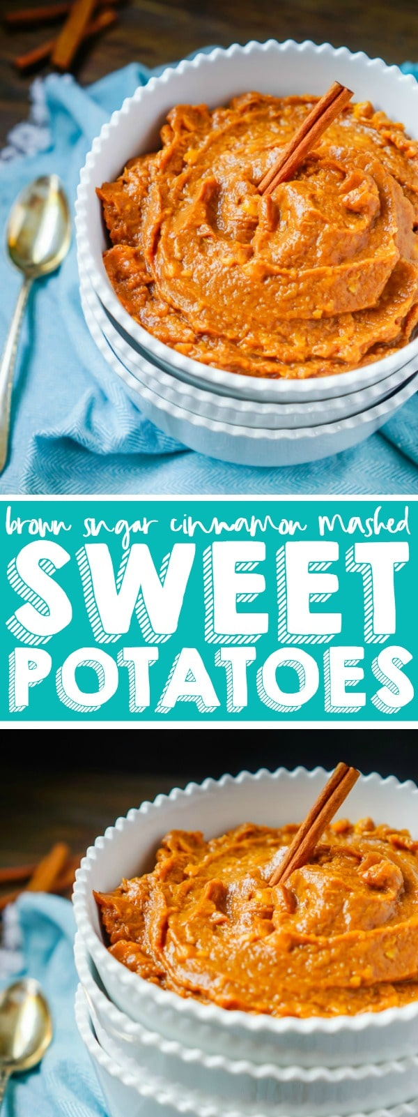 Cinnamon brown sugar mashed sweet potatoes are my favorite mashed potatoes recipe! This sweet potato side dish is the perfect addition for your holiday menu! Plus, they're easy, flavorful and easy to pair with main dishes all year long. | THE LOVE NERDS #THANKSGIVINGSIDEDISH #CHRISTMASSIDEDISH #HOLIDAYPOTATORECIPE #SWEETPOTATORECIPE