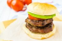 Double BUBBA burger sandwich with tomato and avocado
