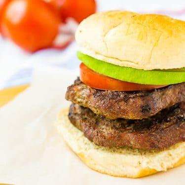 Double BUBBA burger sandwich with tomato and avocado
