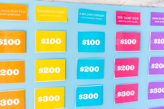 Up close shot of DIY Jeopardy categories printed, cut out and taped onto a bright blue foam board